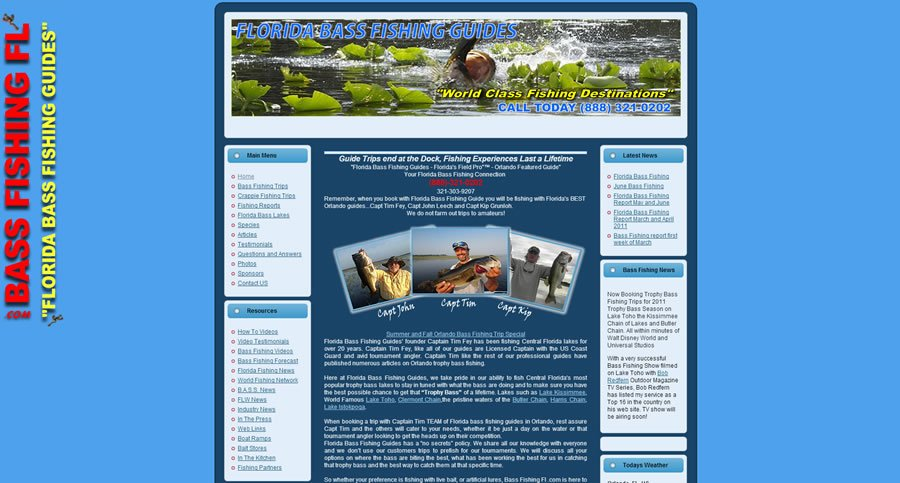 Fishing Guide Website Design - BassFishingFL.com